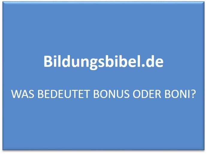 bonusse oder boni