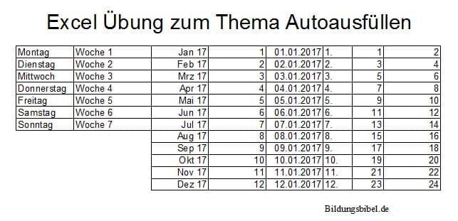 Autoausfüllen von Text, Zahlen, Datum, Excel Übungen und Aufgaben kostenlos downloaden