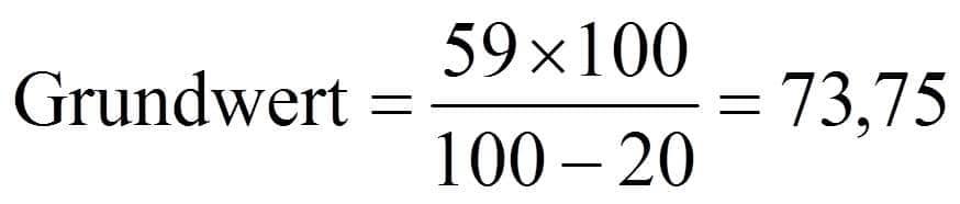 Verminderter Grundwert bzw. im Hundert rechnen Beispiel