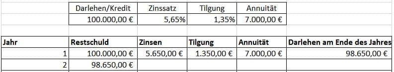 Annuitätendarlehen, Restwert oder Restschuld berechnen