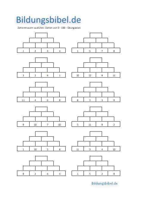 Zahlenmauern von 1 bis 100, Übungen, Übungsblätter und Arbeitsblätter mit Lösung für Mathematik Klasse 2