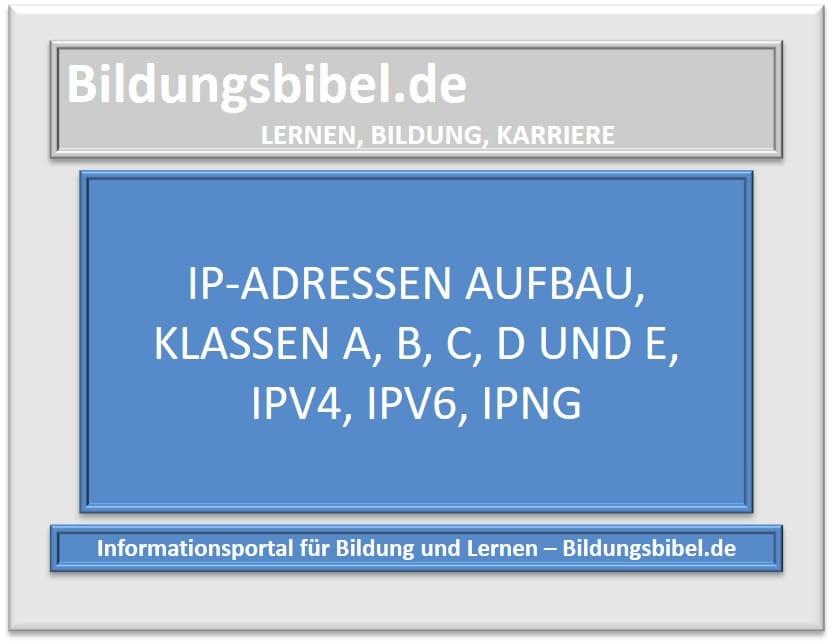 IP-Adressen Aufbau, Klassen A, B, C, D und E, IPv4, IPv6, IPnG