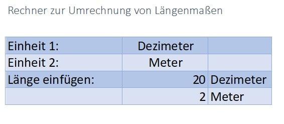 Längenmaße Rechner für Excel online downloaden