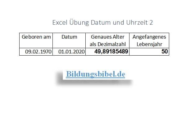 Datum berechnen mit Excel Übung, Alter und Lebensjahr, Aufgabe, Arbeitsblätter