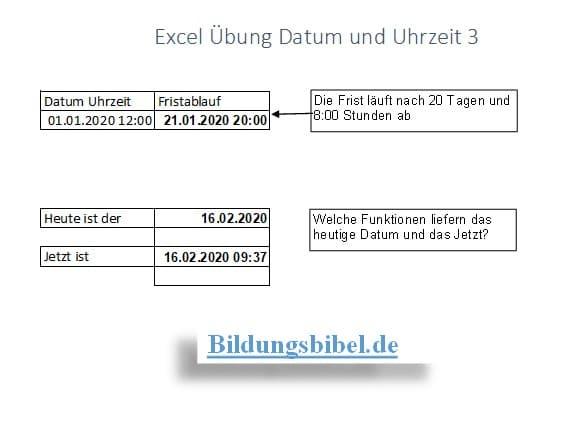 Datum und Uhrzeit in Formel berechnen, Funktion Heute und Jetzt mit Excel Übung