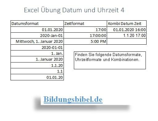 Excel Datumsformat, Uhrzeitformat, Datum und Uhrzeit formatieren, Excel Übung