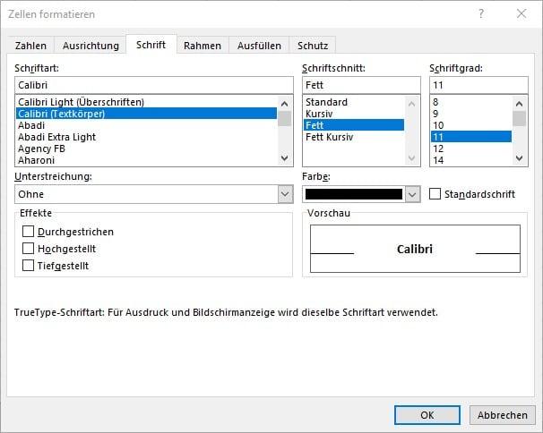 Befehl Fett über das Dialogfeld Zellen formatieren in Excel