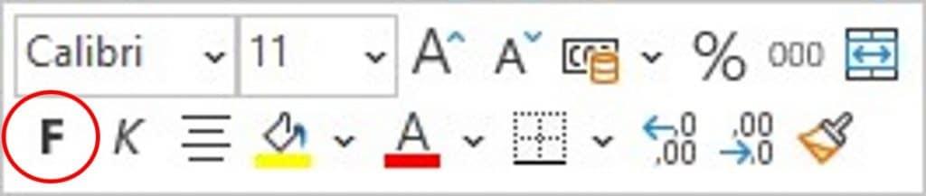 Befehl Fett im Kontextmenü mit der Minisymbolleiste in Excel