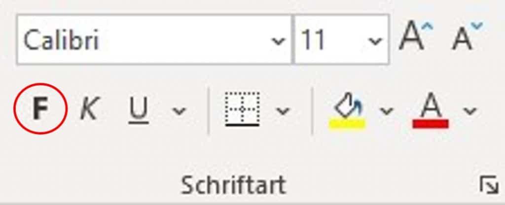 Befehl Fett über das Menüband in Excel