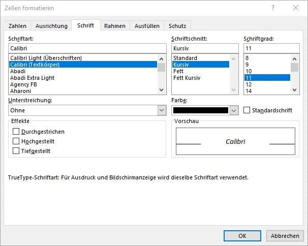 Befehl Kursiv über das Dialogfeld Zellen formatieren in Excel