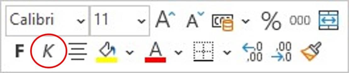Befehl Kursiv im Kontextmenü mit der Minisymbolleiste in Excel