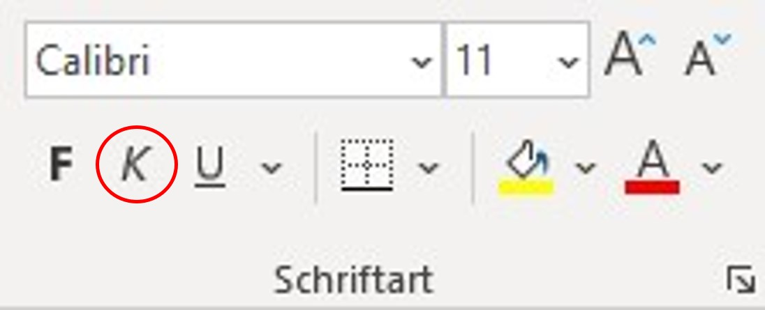 Befehl Kursiv über das Menüband in Excel