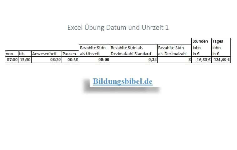 Uhrzeit rechnen in Excel Übung, Aufgabe, Arbeitsblätter, Übungsblätter
