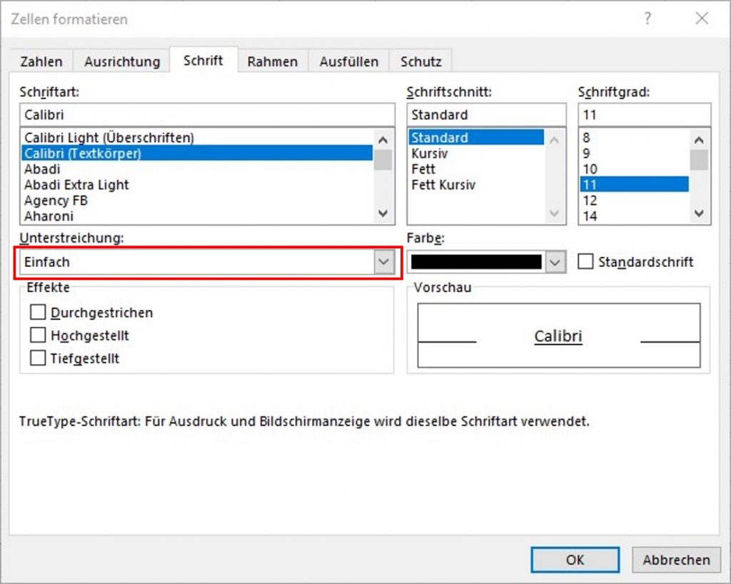 Befehl Unterstreichung über das Dialogfeld Zellen formatieren in Excel