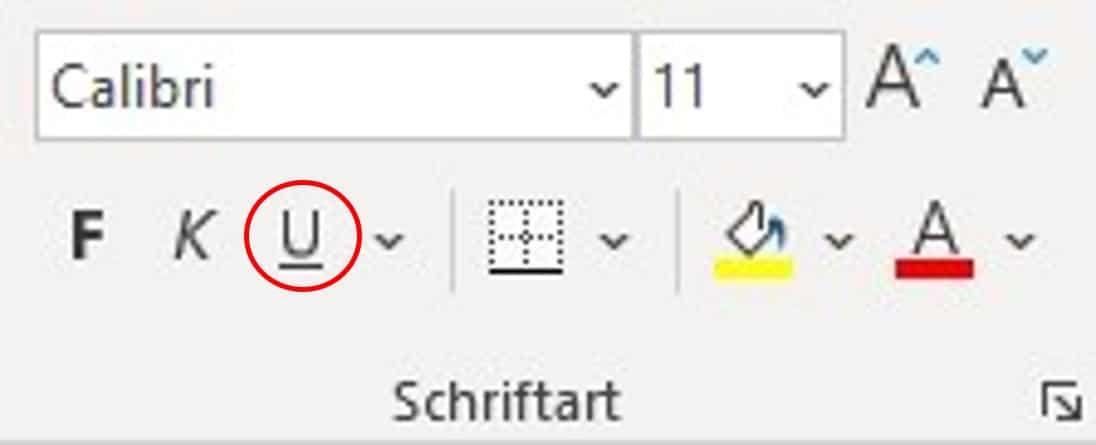 Befehl Unterstreichen über das Menüband in Excel