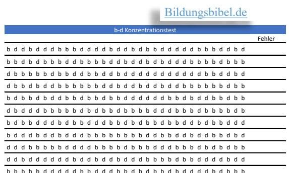 Das Arbeitsblatt für den Konzentrationstest b-d kostenlos downloaden