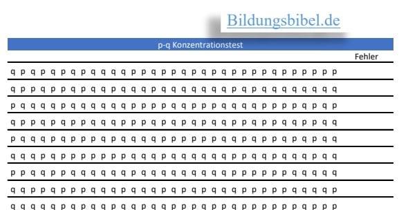 Das Arbeitsblatt für den Konzentrationstest p-q kostenlos downloaden