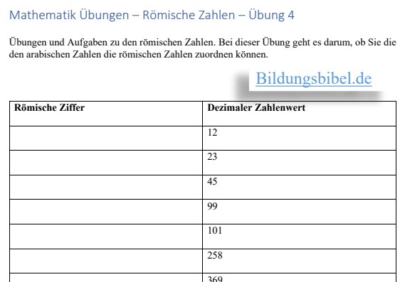 Das Übungsblatt 4 Umwandlung von dezimalen Zahlen in die römischen Zahlen