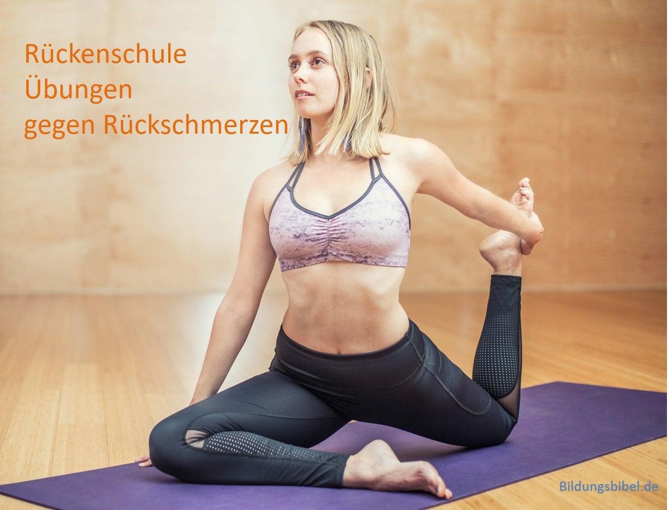 Rückenschule Übungen, Rückenschmerzen, Vorbereitung, Beispiele Crunch, Kniebeugen, Vierfüßlerstand und Marschieren