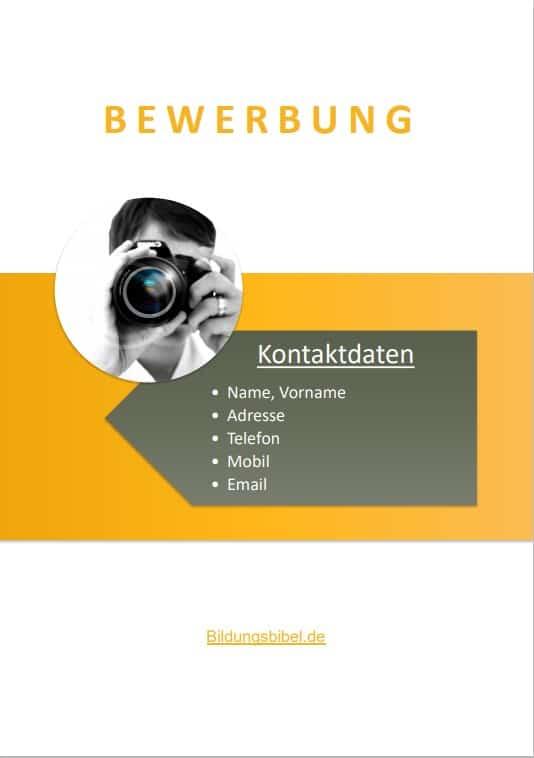 Bewerbung Deckblatt Muster bzw. Vorlage im Design Badge kostenlos als Download