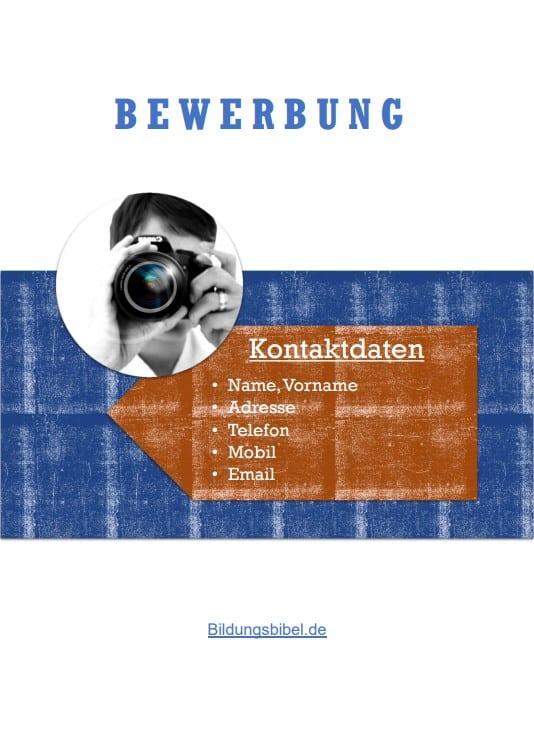 Bewerbung Deckblatt Muster bzw. Vorlage im Design Holzart-Office kostenlos als Download