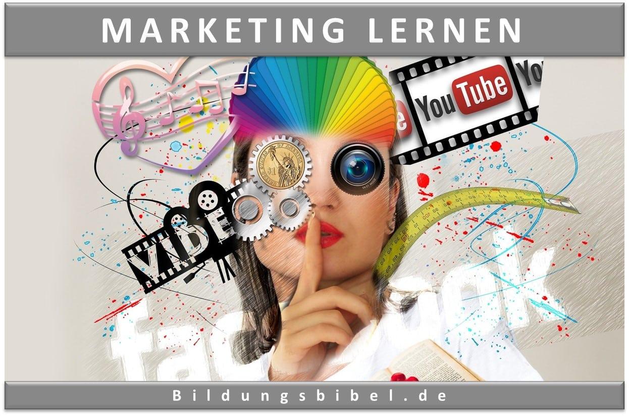 Marketing lernen sowie dem Online Marketing und auch dem SEO, 17 Bereiche zu Werbung, SWOT, Instrumente, Techniken und Methoden.